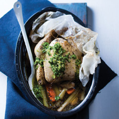 Oven-poached whole chicken and vegetables with celery lemon salsa