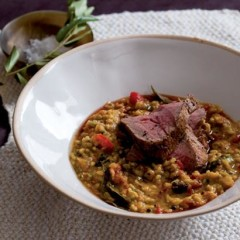 Oven-roasted spiced fillet with fragrant dhal