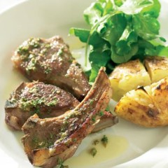 Pan-fried lamb rib chops with caper dressing and grilled smashed potatoes