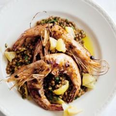 Pan-fried prawns on lentil salad