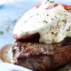 Pan-fried rump steak with home-made free-range egg mayonnaise