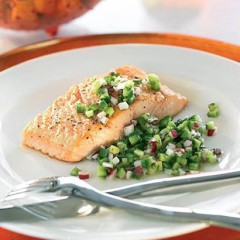 Pan-fried salmon steaks with cucumber-and-dill salsa