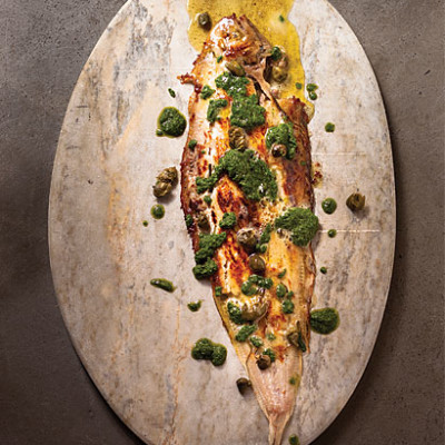 Pan-fried sole meuniere with salsa verde and beurre noisette