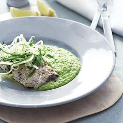 Pan-grilled fish with pea-and-mint puree