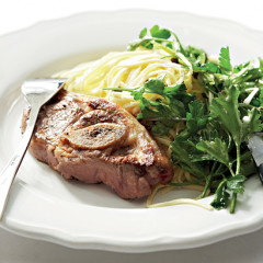 Pan-grilled lamb chops with whole-herb salsa verde and fresh pasta