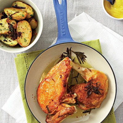 Pan-roasted chicken portions with crusty potato salad