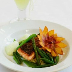 Pan-roasted norwegian salmon with lime spaetzle, fricassee of greens and spring-onion veloute