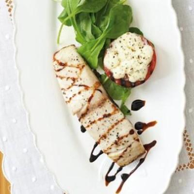 Pan-seared fish with warm caprese salad