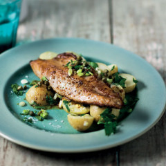 Pan-seared mackerel with warm potato-and-caper salad