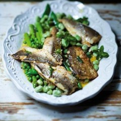 Panfried hake fillets on a bed of spring greens
