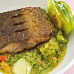 Panfried balsamic dorado with homemade spanish green tomato, papaya and chilli gazpacho