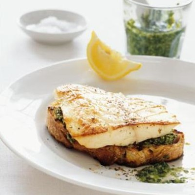 Pangrilled butterfish with salsa verde and bruschetta