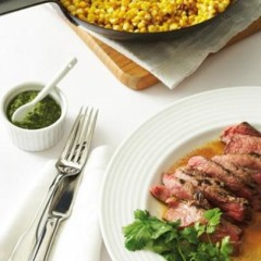 Pangrilled corn with sliced seared steak and fresh coriander sauce