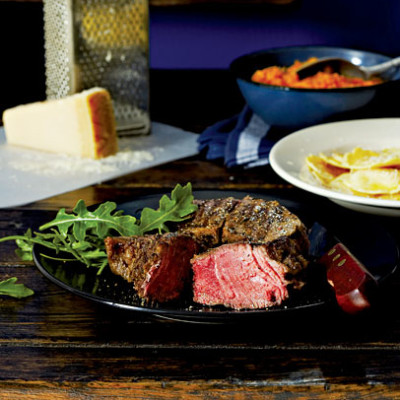 Pangrilled steak with pasta pockets and butternut mash