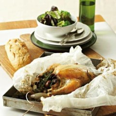 Paper-wrapped roast chicken