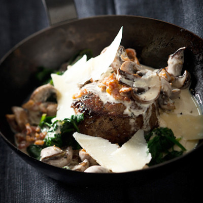 Parmesan, sherry and cream sauce