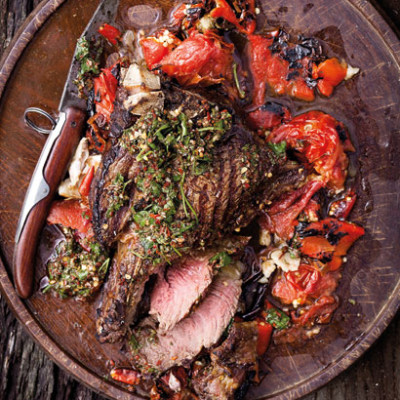 Parrilla-style aged T-bone with chimichurri and roast red pepper-and-tomato salsa