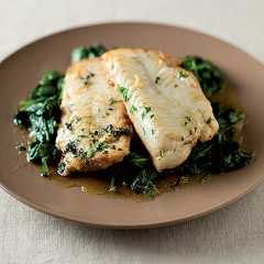 Parsley-buttered hake