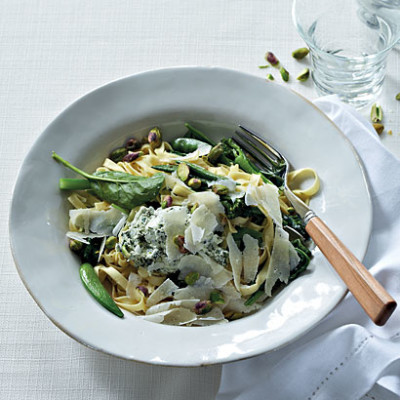 Pasta and greens with herb-and-goat's cheese pesto