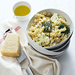 Pasta with braised cauliflower and broccol, rosemary and olives