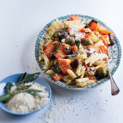 Pasta with creamy pumpkin sauce and olives