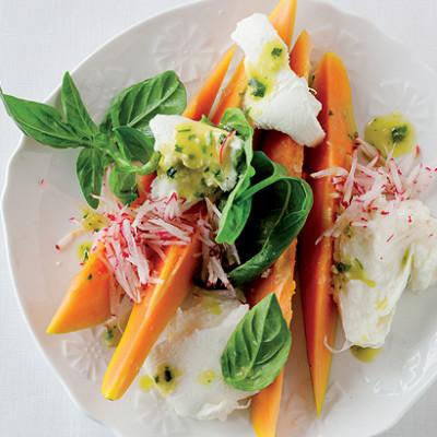 Pawpaw and buffalo-mozzarella salad