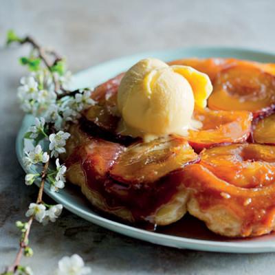 Peach tarte tatin with mango sorbet | Woolworths TASTE