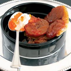 Peach tarte tatin with seaweed caviar