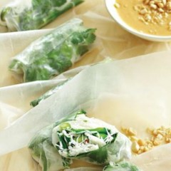 Peanut and vegetable rice-paper wraps