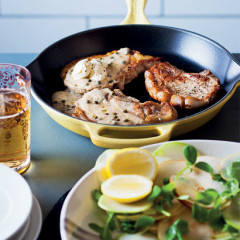 Pear-cider pork chops with kohlrabi, pear and pea shoot salad