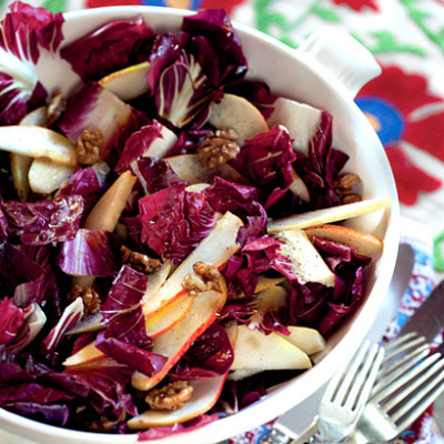 Pear, walnut and radicchio salad