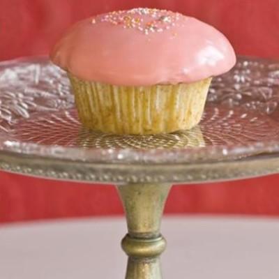 Pink-iced vanilla cupcakes