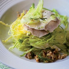 Poached chicken and walnut salad