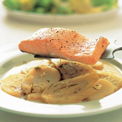Poached ocean trout with potato and fennel