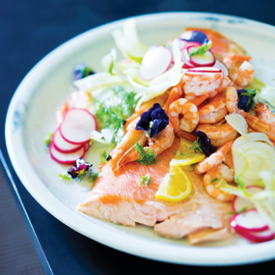 Poached salmon with prawns