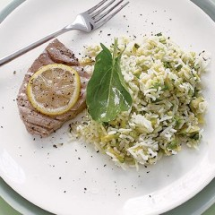 Poached tuna with avocado rice