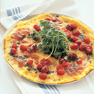 polenta pizza with tomatoes and ricotta olive and sun dried tomatoes ...
