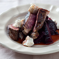 Pomegranate seared beef with roast beetroot