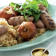 Pork-and-apple sausages with beer-baked sauerkraut