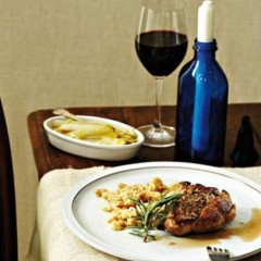 Pork steaks with rosemary and panfried butter beans