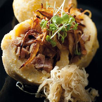 Potato dumplings with gammon and sauerkraut