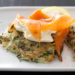 Potato rosti with cream cheese and salmon