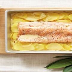 Potato, saffron and trout bake