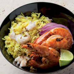 Prawn and hake pilau