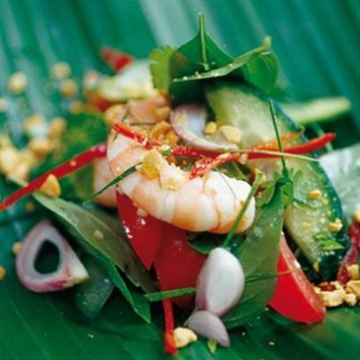 Prawn-and-herb salad with shallots, chilli, lime and toasted peanuts