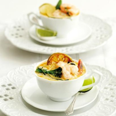 Prawn-and-lime laksa with aromatic greens