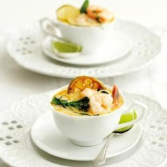 Prawn and lime laksa with aromatic greens
