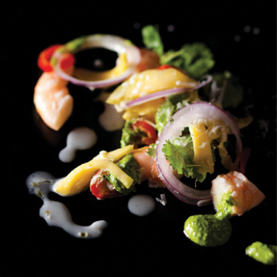 Prawn, coconut and green mango ceviche with mojo cilantro