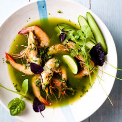 Prawns poached in green Thai curry broth