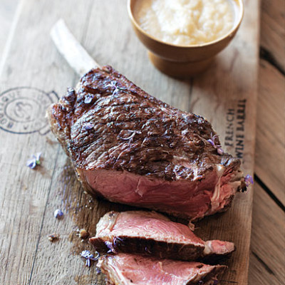Prime rib steaks with onion puree